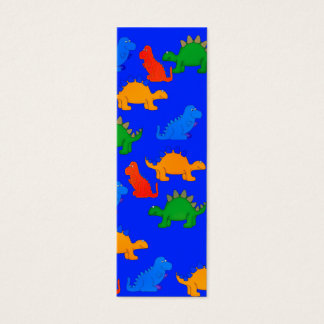 Kid's Bookmark Boys Dinosaur Collage Blue Mini Business Card