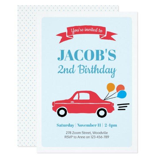 Kids boy car Birthday Invitation