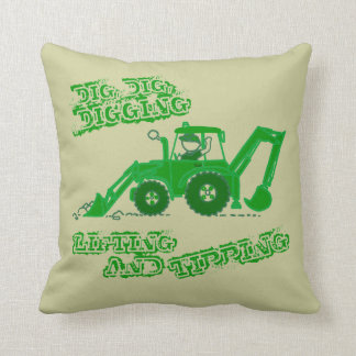 Kids boy digger green pillow