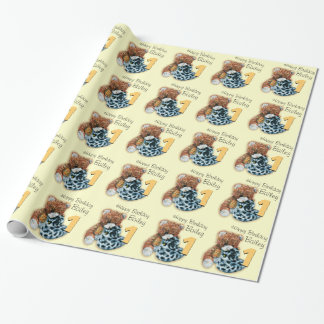 Kids boys 1st birthday teddy bear patterned wrap