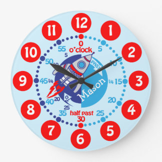 Kids boys learn to tell time blue red space clock