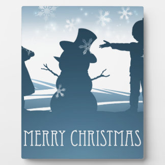 Kids Building Snowman Christmas Scene Plaque