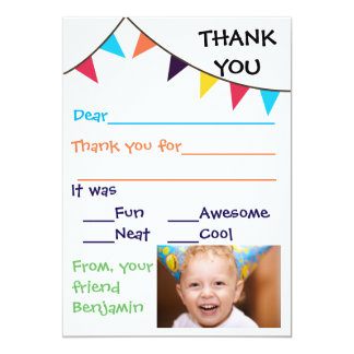 Kid's Bunting Custom Thank You Cards
