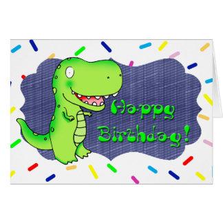 kids cartoon dinosaur t-rex happy birthday greeting card