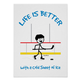 Kids Cartoon Hockey Life Is Better Hockey Poster