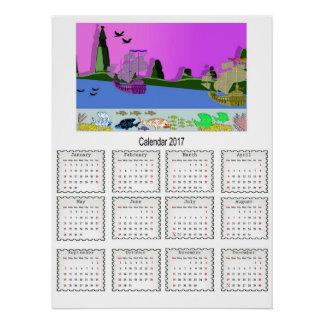 Kids Cartoon Ships,Fish 2017 Yealy Calendar Perfect Poster