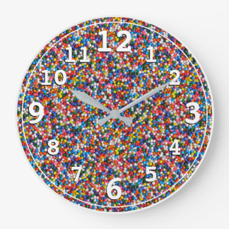 Kids Childrens Colorful Sprinkles Bright Colors Large Clock