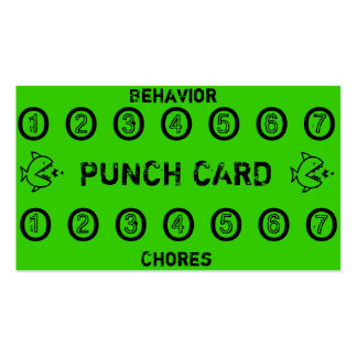 Kids Chore Punch Cards Pack Of Standard Business Cards