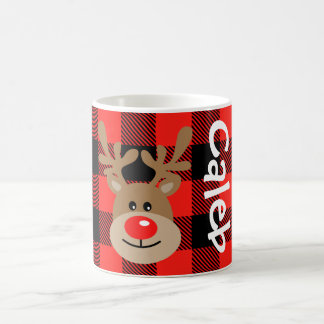 Kids Christmas Mug Personalized Buffalo Plaid Mug