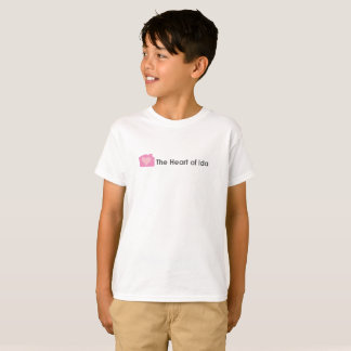Kids Classic White T-shirt with Heart of Ida logo