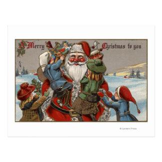 Kids Climbing on Santa Postcard