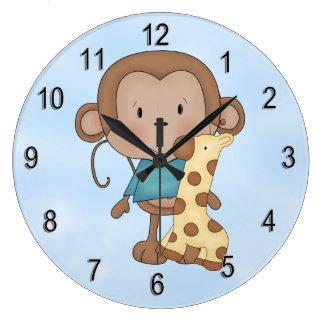 Kid's Clock Cute Baby Monkey Boy