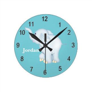 Kid's Clock Cute Blue Baby Elephant