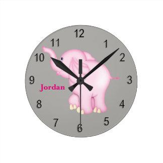 Kid's Clock Cute Pink Baby Elephant