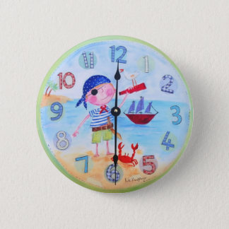 Kids Clock Style Button -'The Pirate""