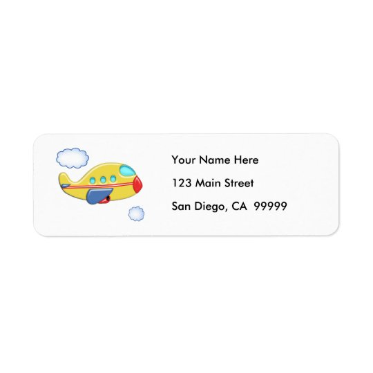 Kid's Colourful Airplane Return Address Label