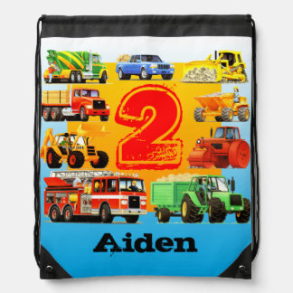 Kid's Construction Truck 2nd Birthday Gift Drawstring Bag