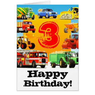 Kid's Construction Truck Happy 3rd Birthday Card