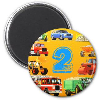 Kid's Construction Trucks 2nd Birthday 2 Inch Round Magnet