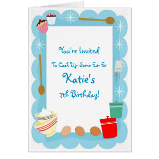 Kid's Cooking Party Invitations
