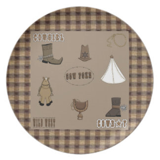 Kids Cowboy Cowgirl Decorative Plate