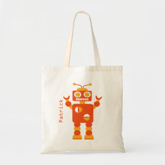 Kids Crazy Orange Robot Personalized Boys Budget Tote Bag