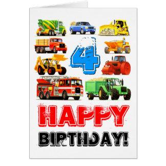 Kid's Custom 4th Birthday Construction Truck Card