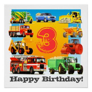 Kids Custom Age Happy Birthday Construction Truck Poster