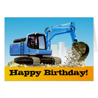 Kids Custom Blue Excavator Digger Happy Birthday Card