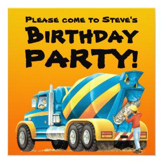 Kids Custom Concrete Mixer Truck Party Card