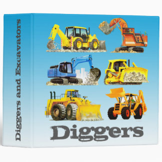 Kids Custom Digger and Excavator Truck Binder