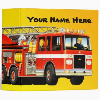 Kid's Custom Fire Truck Vinyl Binders