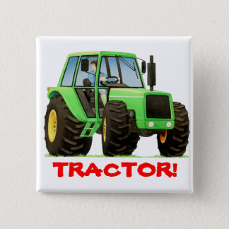 Kids Custom Green Tractor 2 Inch Square Button