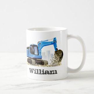 Kid's Custom Name Blue Digger Excavator Coffee Mug