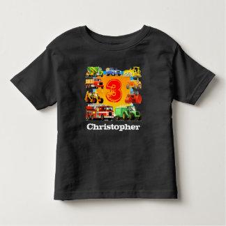 Kids Custom Name Construction Truck 3rd Birthday Toddler T-shirt