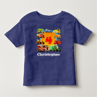 Kids Custom Name Construction Truck 4th Birthday Toddler T-shirt