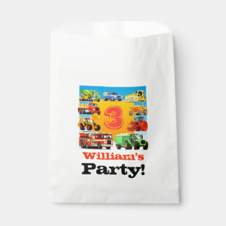 Kids Custom Name Construction Truck Birthday Party Favour Bag