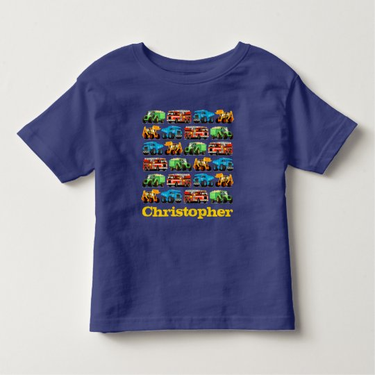 Kids Custom Name Construction Truck Pattern Toddler T-shirt