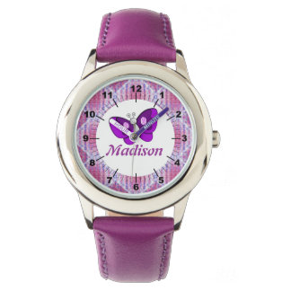 Kids Custom name Pink Purple Plaid Butterfly Wristwatch