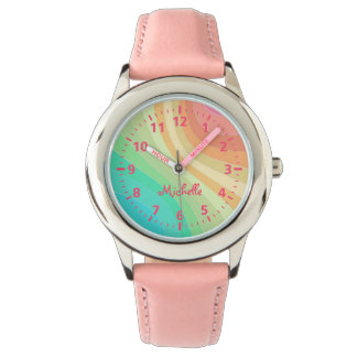Kids Custom Name Rainbow Watch
