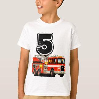Kids Custom Red Fire Truck 5th Birthday T-Shirt