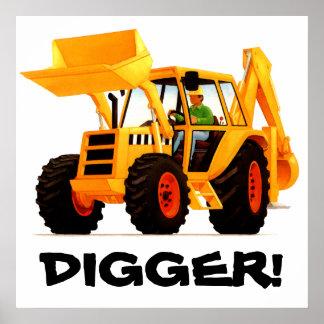Kid's Custom Yellow Digger Poster