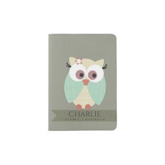 KIDS CUTE AQUA BLUE GREEN GREY CUDDLY OWL MONOGRAM PASSPORT HOLDER