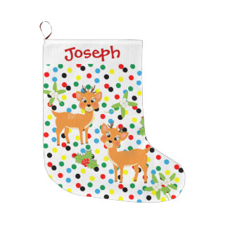 Kids Cute Baby Reindeer Festive Design Large Christmas Stocking