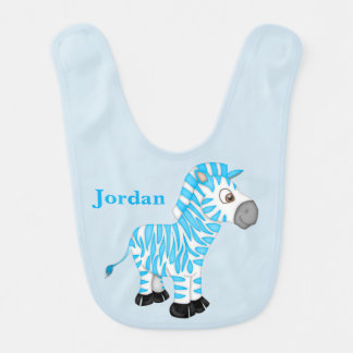 Kid's Cute Blue Baby Zebra Bib