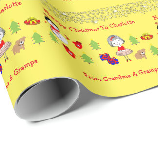 Kids Cute Christmas Holidays Pattern Personalized Wrapping Paper