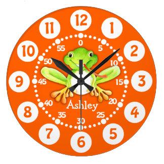 Kids cute frog orange green wall clock