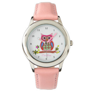 Kids cute owl custom name wrist watch pink strap