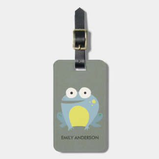 KIDS CUTE PERSONALIZED BLUE GREEN GREY BABY FROG LUGGAGE TAG