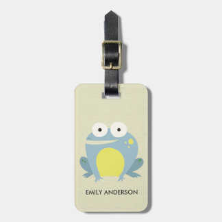 KIDS CUTE PERSONALIZED BLUE GREEN WHITE BABY FROG LUGGAGE TAG